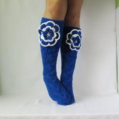 Wool socks Long blue socks with a flower Hand knit от mymomsshop1