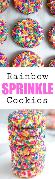 Rainbow Sprinkle Confetti Cookies! Soft buttery cookies covered in bright neon colored sprinkles! #cookies #sprinkles #sweettreats