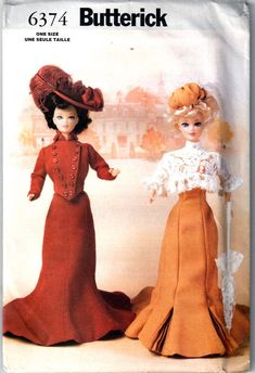Butterick 6374 Delineator Girls circa 1900 Fashion Doll Clothes for Barbie by mbchills Barbie Sewing Patterns, Hat Patterns To Sew, Doll Clothes Patterns, Doll Patterns, Clothing Patterns, Pattern Sewing, Barbie Clothes, Barbie Dolls, Barbie Stuff