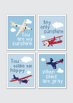 "Swooping airplanes and fluffy clouds make this airplane nursery art set just right for your little one's space. Designed in magical detail, it features four art prints with blue sky backdrops and a different airplane in each. The nursery quote ""You Are My Sunshine"" appears throughout to"