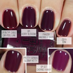 Comparison of fall berry nail colors.