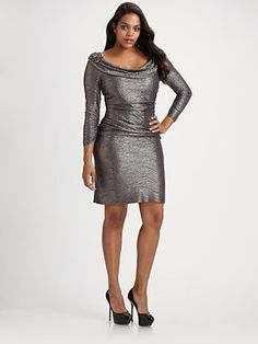 David Meister, Salon Z  Cowlneck Plus Size Dress in Gunmetal, fully lined.  $628.00  Yes, pricey, but pretty hot for a plus size dress!