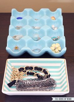 love the blue egg tray -- 4UHeart Organizing: Statement Jewelry Storage