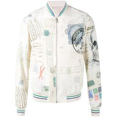 Alexander Mcqueen Alexander Mcqueen Letters From India Bomber Jacket ($1,895) ❤ liked on Polyvore featuring men's fashion, men's clothing, men's outerwear, men's jackets, white, mens white bomber jacket and mens white jacket