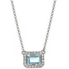 Anika and August 14k White Gold 1/6ct TDW Diamond and Emerald-cut... ($382) ❤ liked on Polyvore featuring jewelry, necklaces, blue, round pendant necklace, chain necklace, round diamond necklace, white gold necklace and 14k white gold necklace