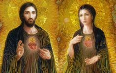 Tomorrow the Church celebrates the Feast of the Sacred Heart of Jesus and, the next day, the Immaculate Heart of Mary. Little do people know the nuptial meaning of these two great feasts. Heart Of Jesus, God Jesus, Jesus Christ, Aztec Symbols, Joseph, Christ Tattoo, Fulton Sheen, Catholic Diocese, Mama Mary