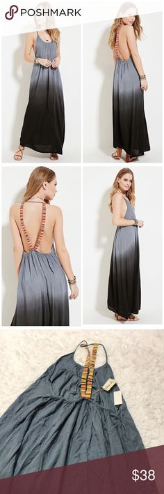 NWT boho me ombré Maxi Dress Excellent condition  Flawless  Gray to black ombré style Low back Perfect for the beach, vacation, festival  Halter top Missing materials tag material feels like a rayon cotton blend  Please look at pictures for details and measurements boho me Dresses Maxi