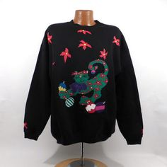 Ugly Christmas Sweater Vintage Sweatshirt Party Xmas Cat Tacky Holiday size XL