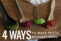 4 Ways To Make Pesto Without Basil: Cilantro pesto, Sun-dried tomato and caper pesto, roasted beet pesto, parsley pesto