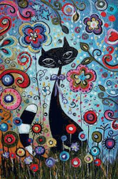 """Schema ricamo """"Gatto in fiori"""" - Piani di ricamo - Makka - Autori - Portale """"punto croce"""""""