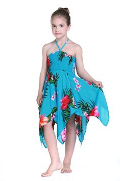 Girl Gypsy Uneven Bottom Dress in Turquoise
