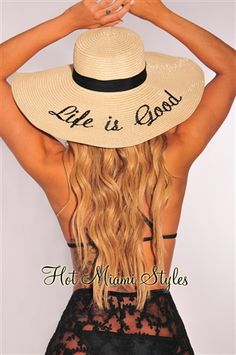 Natural Embroidered ''Life Is Good'' Straw Floppy Hat Teal Coral, Floppy Sun Hats, Hot Miami Styles, Inspirational Celebrities, Black Smoke, Miami Fashion, Black Rhinestone, Summer Hats, Beach Day