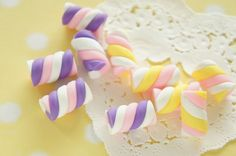 8 pcs Polymer Clay Twisted Candy Marshmallow by misssapporo