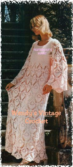 Intant Download PDF Vintage Seventies Crochet Pattern to make a Lace Long Maxi Evening or Wedding Dress in 4 Sizes up to 38 inch Bust
