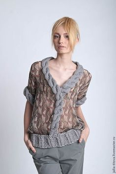 Chiffon blouse with knitted trimming