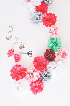 Tissue Paper Flower Garland - A super easy and pretty display for home.