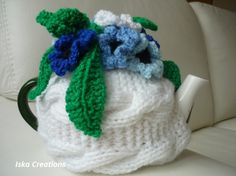 Tea Pot Cozy Knitted white color with crochet flowers by IskaCreations, $29.00 #Gifts on #etsy