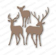Impression Obsession - Dies - Deer Trio-The group of three is approximately 3 x Scrapbook Supplies, Scrapbook Pages, Craft Supplies, Boutique Scrapbooking, Impression Obsession, Cat Cards, Men's Cards, Die Cut Cards, Marianne Design