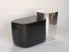 """Eric Schmitt Side table """"Bloc"""". Patinated black bronze and silver plated bronze."""