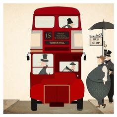 London bus illustration Nursery ❤ liked on Polyvore