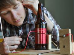 """Crystal radio technology has been around for many years. This """"bottle radio"""" take on a crystal radio requires no power source, operates on the power from Diy Electronics, Electronics Projects, Weekend Projects, Fun Projects, Radios, Arduino, Alternative Energy Resources, Empty Glass Bottles, Science Fair Projects"""