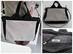 Le très élégant sac Foxtrot réalisé par L'atelier des midinettes en velours gris clair et noir pour l'extérieur avec surpiqûres contrastantes et jean pour la doublure. - Patron de couture Sacôtin