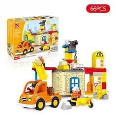 66pcs City Architecture Building Blocks DIY Creative Bricks Compatible With LegoINGly Duplo Educational Block Toys For Children