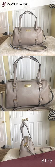 "Authentic Michael Kors Bedford MD Leather Satchel Authentic Michael Kors Bedford MD TZ Leather Satchel. Style 38F6XBFS2L Color- dk Taupe (As shown in label) with gold hardware. New with tag. Dimensions- 12"" L (bottom) x 7"" H x 5.5"" W (bottom) and handle drop height of 7"" with a removable & adjustable long strap. No dust bag available. Michael Kors Bags Satchels"