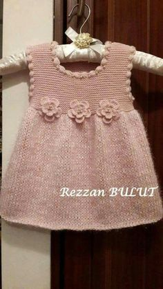 """diy_crafts- """"Knit dress - simple, sweet, lovely ~~ Garter bodice, stockinett skirt, finished with crochet puff stitch edging and 3 crochet flow Knitting Baby Girl, Knitting For Kids, Baby Knitting Patterns, Crochet Baby, Knitted Baby, Baby Knits, Girls Knitted Dress, Knit Baby Dress, Baby Cardigan"""