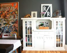 My Houzz: - eclectic - dining room - san francisco - by Shannon Malone. (Paint green bookcase white?)