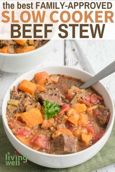 This is beef stew crock pot recipe is my favorite thing to make on cold evenings. Just throw the ingredients in and let the slow cooker cook this hearty paleo beef stew recipe. Beef Stew Crockpot Easy, Slow Cooker Beef, Healthy Crockpot Recipes, Paleo Recipes, Paleo Food, Easy Recipes, Clean Eating Recipes For Dinner, Healthy Dinner Recipes, Paleo Meal Prep