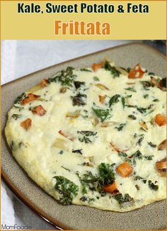 Kale, Sweet Potato & Feta Frittata: A healthy hearty high protein breakfast with just 320 calories.