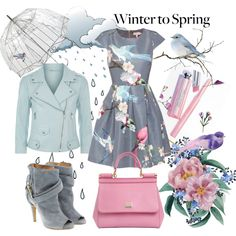 April showers bring May flowers by kc-spangler on Polyvore featuring Ted Baker, Rebecca Minkoff, Maison Margiela, Dolce&Gabbana, Lulu Guinness, dress, gray, birds, pastels and Wintertospring