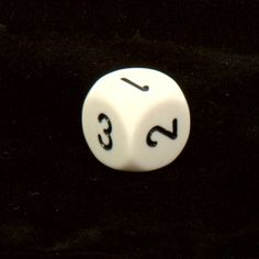 Chessex Opaque 16mm d6 with 1-2-3 twice, White and black Dice $0.65 #bestseller