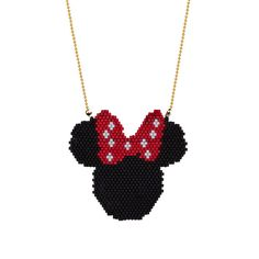 Collier de perles Minnie Mouse, Minnie Miyuki Necklace, Miyuki collier, Brickstitch Beadwork, souris minnie perlée