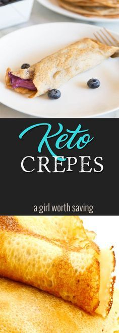 Healthy gluten-free Low Carb Crepes will with a luscious blueberry cream cheese filling will have you asking for seconds for breakfast! Perfect for Keto via @bejelly