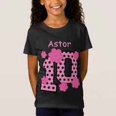 f29cea69 10th Birthday Pink Polka Dots Custom Name V025A5 T-Shirt Pink Polka Dots,  10th