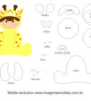 Molde de Animais Baby - Girafa - para EVA, Feltro e Artesanato Clipart Baby, Baby Patterns, Doll Patterns, Baby Shower Pin, Baby Clip Art, Silhouette Curio, Felt Quiet Books, Baby Blocks, Name Banners