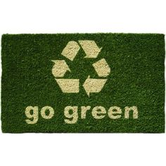 """Go Green Hand Woven Coconut Fiber Doormat, 18"""" x 30"""" by BigKitchen. $25.48. Abrasive and effective. Hand stenciled bleached coconut fiber. Forest green background color. Resists fading and running. 'Go green' text with large recycle logo. Add some personality to the front door and put out this coir doormat. An eco-conscious recycle logo and 'go green' text is stenciled in a fading and running resistant ink; encouraging visitors to do their part. The coconut fiber construction..."""