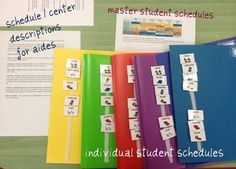 Each student has their own folder and schedule.  This is super helpful for Special Education when you have a different schedule for each kid.