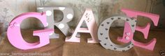 Personalised Painted Wooden Letters Name - Freestanding Nursery, Baby, Gift
