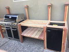 Diy Outdoor Bar, Outdoor Kitchen Patio, Outdoor Kitchen Design, Backyard Patio, Backyard Gazebo, Backyard Sheds, Outdoor Kitchens, Outdoor Refrigerator, Outdoor Grill Station