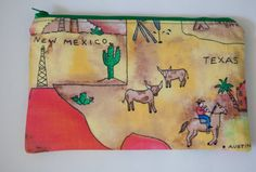 Large Makeup Bag  TEXAS/NEW MEXICO Map  by BlueBelugaDesigns