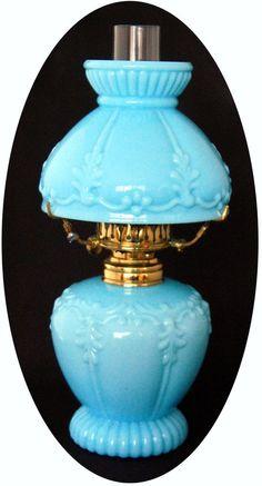 RARE Antique Embossed Blue Milk Glass Miniature Oil Lamp, S1-263