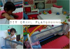 Love this idea of a crawl playground in our new playroom. This mom documented how she changed the playspace to help her little one developmentally as she grew. Would love to try putting this together.