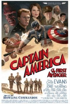 Captain America movie poster drawn by comic artist Paulo Rivera.