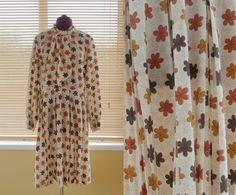 / Plus size Carnegie of London autumn print dress 1960s, Plus Size, Autumn, London, Trending Outfits, Unique, Etsy, Clothes, Vintage