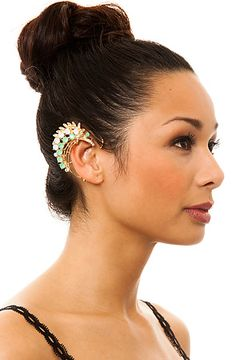 The Jeweled Leaf Ear Cuff in Green and Gold by *MKL Accessories  was a steal @ $10