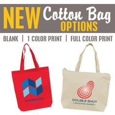 BRAND NEW ‪#‎Cotton‬ ‪#‎Bag‬ options...more styles available to choose from & we are offering blank, 1 color & full color print options! #tote