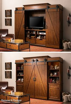 Fall is all about the industrial, rustic look this year. This entertainment center is a bit of both and perfect for the season! Fall is all about the industrial, rustic look this year. This entertainment center is a bit of both and perfect for the season! Living Room Entertainment Center, Industrial Entertainment Center, Woodworking For Kids, Woodworking Plans, Woodworking Skills, Woodworking Projects, Woodworking Shop, Tv Cabinets, White Cabinets